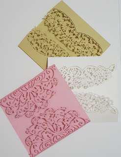 1pc Handmade Lacy Card Blank & Envelope