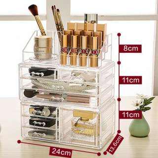 全新 壓克力 透明 收納盒 收納櫃 保養品 化妝品 多層置物架 桌面