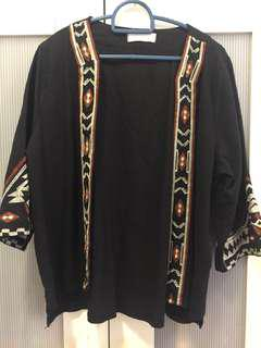 Black Embroidered Cardigan