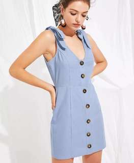 Deep v neck button through dress