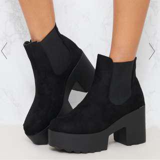 PLT Black Chunky CHELSEA Ankle Boot