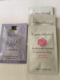 包郵4包Crabtree & Evelyn serum & handcream sample
