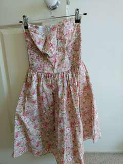 Quirky Circus Strapless Floral Dress