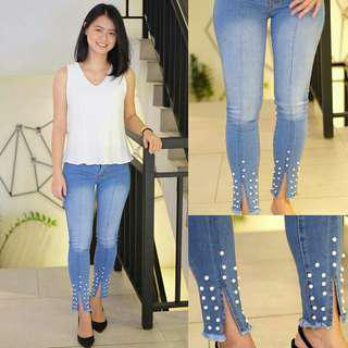 slit pearl jeans
