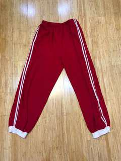 TRACK SUIT PANTS RED AND WHITE