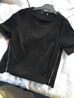 Black zips at sides top