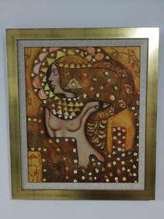 Oil Painting topless Egyptian woman w/ gold frame