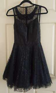 Black ASOS lace dress with beaded collar. Size S