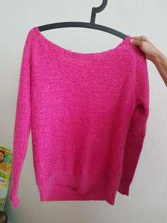 Kintted glittery hot pink sweater