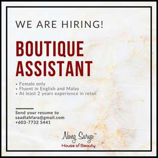 Looking for Boutique Assistant!