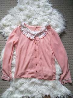Peach Pink Lace Chiffon Sleeve Shirt