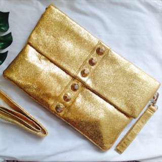 Gold Envelope Bag (with detachable sling)