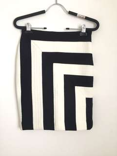 MSGM Black&White Geometric Mini Dress
