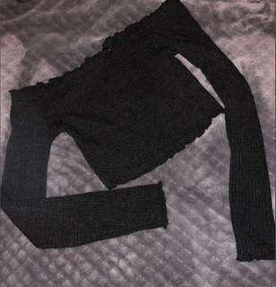 Black frill long sleeve crop