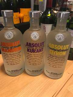 Absolut vodka 三支 750ml