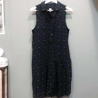 🚚 Gap 深藍無袖鈕扣百褶洋裝