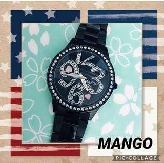 🚚 Mango 活力數字晶漾時尚腕錶  二手 九成五新 極少穿戴 已更換全新電池