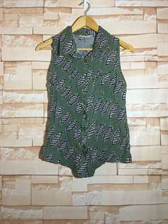 Brand New Moss Green Printed Top