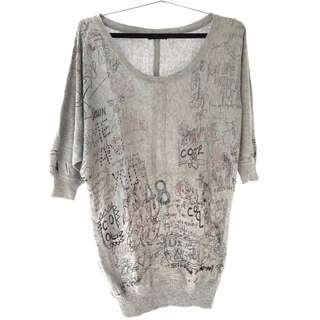 Coolteen Long Grey Shirt 3/4 Sleeve / Baju Abu Panjang