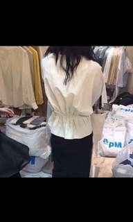 🚚 米白棉麻上衣 後鬆緊設計