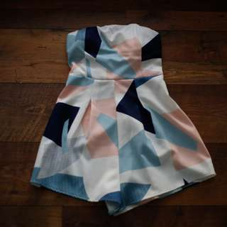 Geometric Strapless Playsuit