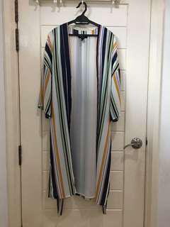 Forever 21 Stripe Long Cardigan in L size