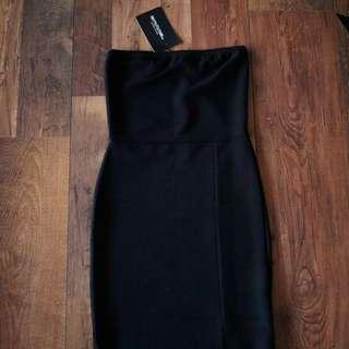 BNWT Pretty Little Thing Black Textured Bandeau Dress