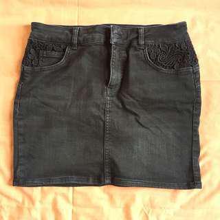 Kookai Black Denim Skirt with Lace