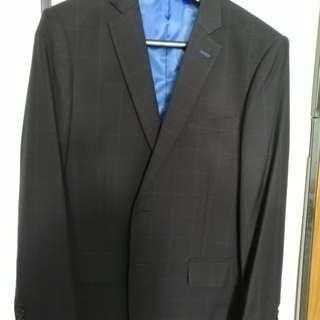 婚後物資 結婚用品 西式婚禮 兄弟 男裝 slim cut 修身 型格 深藍格仔 三件頭 西裝 外套 馬甲 西褲 一套