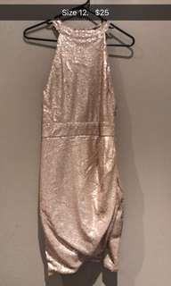 Sequin rose gold cocktail dress