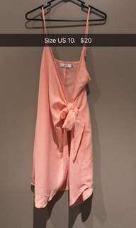 Coral tie-up dress
