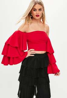 Missguided Red Triple Frill Sleeve Crop Top