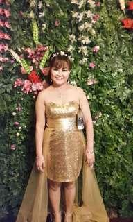 Gaun gold/gaun emas/gaun malam/gaun murah