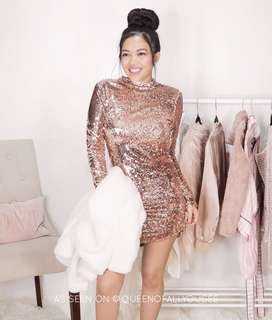 Fashion Nova Bestselling Rosegold Exposed Sequin Dress • very glam, sparkly, sexy • inspired by Kylie Jenner's sequin long gown