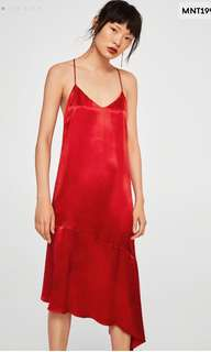 Mango red satin dress