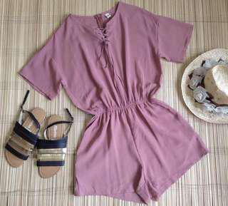 OLD ROSE LACE UP ROMPER