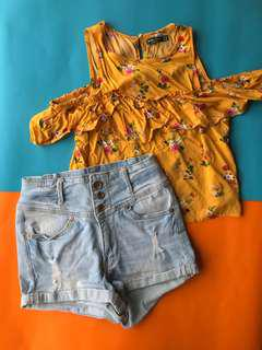 Cold shoulder top + high waisted denim shorts BUNDLE