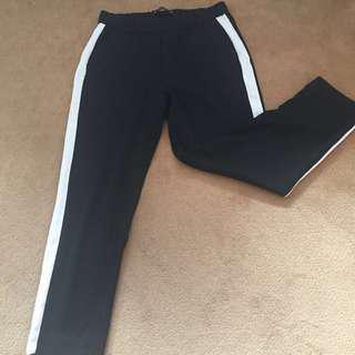 ZARA Basic Side Stripe Black Trousers