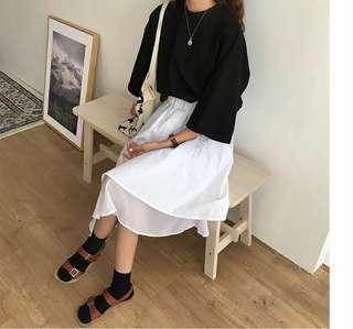 韓版不規則高腰半身裙 寬鬆 百搭 顯瘦
