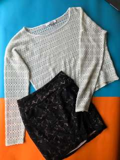 Sweater + lace bandage skirt BUNDLE