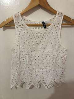 H&M White Sleeveless Cropped Top