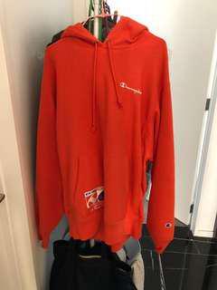 Champion orange hoodie size L