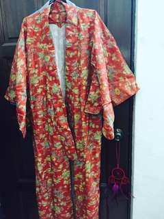 Long Orange Floral Kimono
