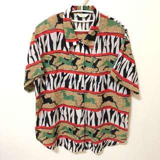 古著非洲動物花襯衫