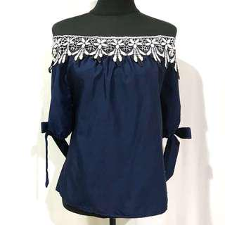 Blue Laced Korean Off Shoulder Top