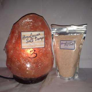 Himalayan Salt Lamp 3kg with Himalayan Fine Salt 250 grams