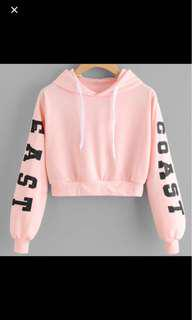 Peach queens cropped fashion hoodie