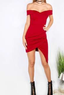 Sexy off shoulder red bodycon dress