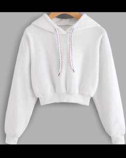 Faux fur white cropped hoodie