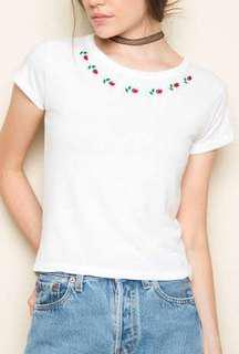 Brandy Melville Mason Roses Embroidery Top